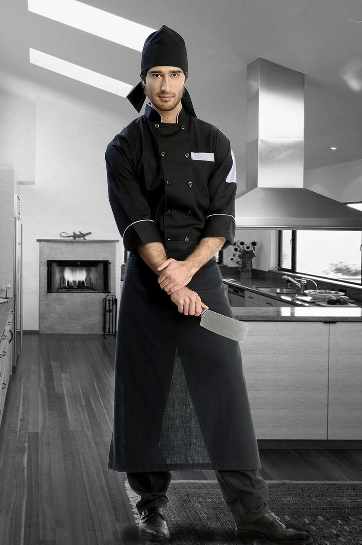 Mandiles y Gorros - MA940V08 Venta de mandiles y gorros para uniformes de Hoteles y Restaurantes