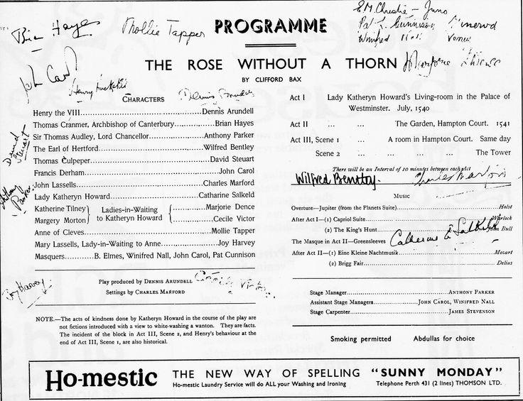 Old Programme in Perth Theatre Scotland