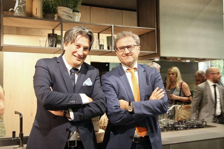 #Designer Michele Marcon and President #EdiSnaidero in our #kitchen Opera at #Eurocucina #Isaloni 2016.