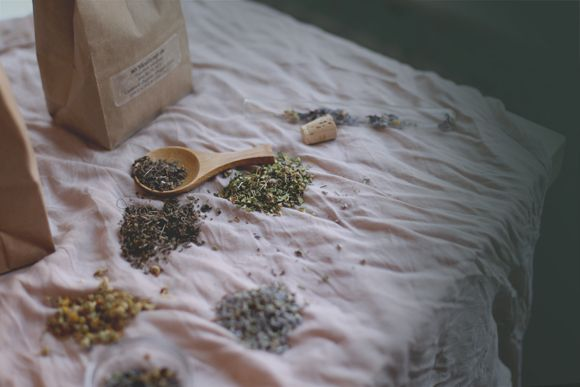 Herbal remedies for anxiety: lavender, chamomile, skullcap, and holy basil.