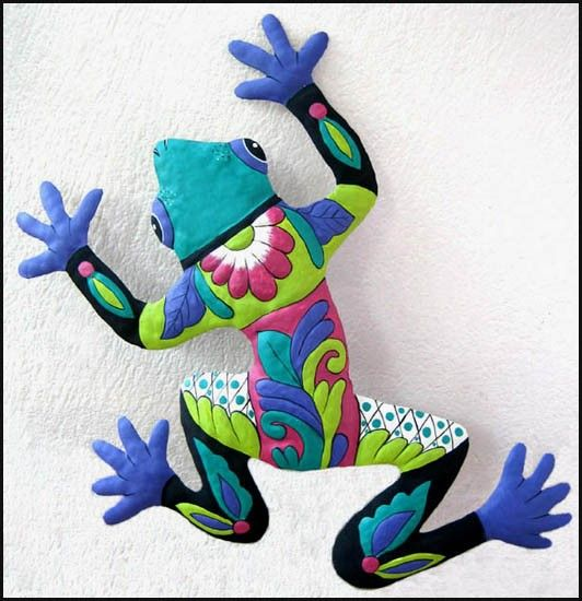 Haitian Painted Metal Frog Wall Decor - Turquoise - Green - Purple - Outdoor Wall Art - M-702-TQ-24 via Etsy