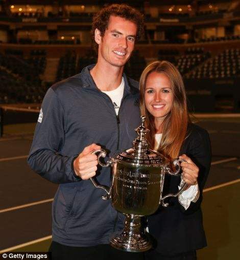 Winning team: Andy Murray and his girlfriend Kim Sears pose with the US Open championship trophy