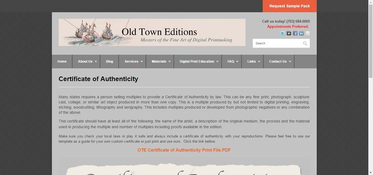 Certificate Of Authenticity  Old Town Editions  Oldtowneditions