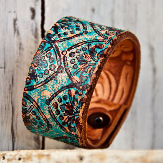 Turquoise Jewelry Cuff Bracelet-made from a vintage belt.