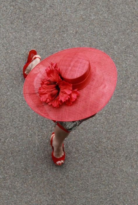 red hat ..red shoes ... on a lady -- even fine on an old woman  (ZsaZsa Bellagio)
