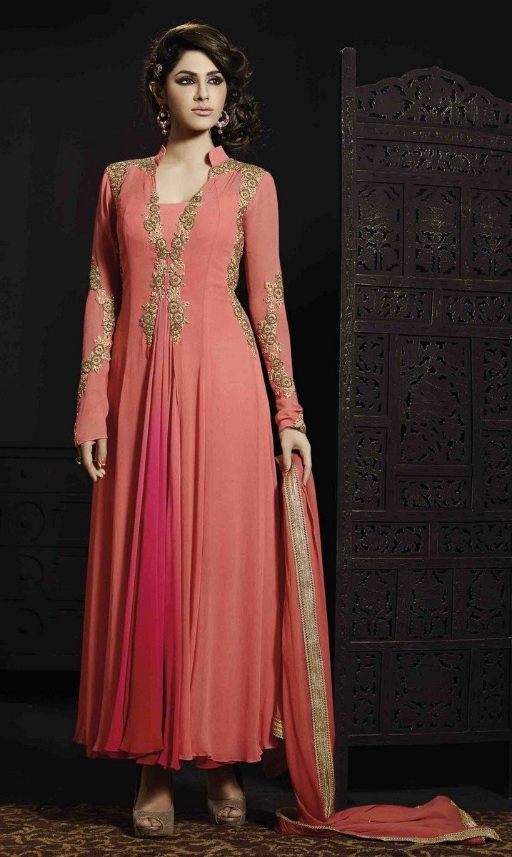 Peach Georgette Embroidered Anarkali Suit With Chiffon Dupatta