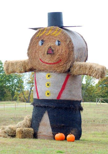 Fall Decorating With Hay Bales Autumn Landscaping Decor in Oklahoma