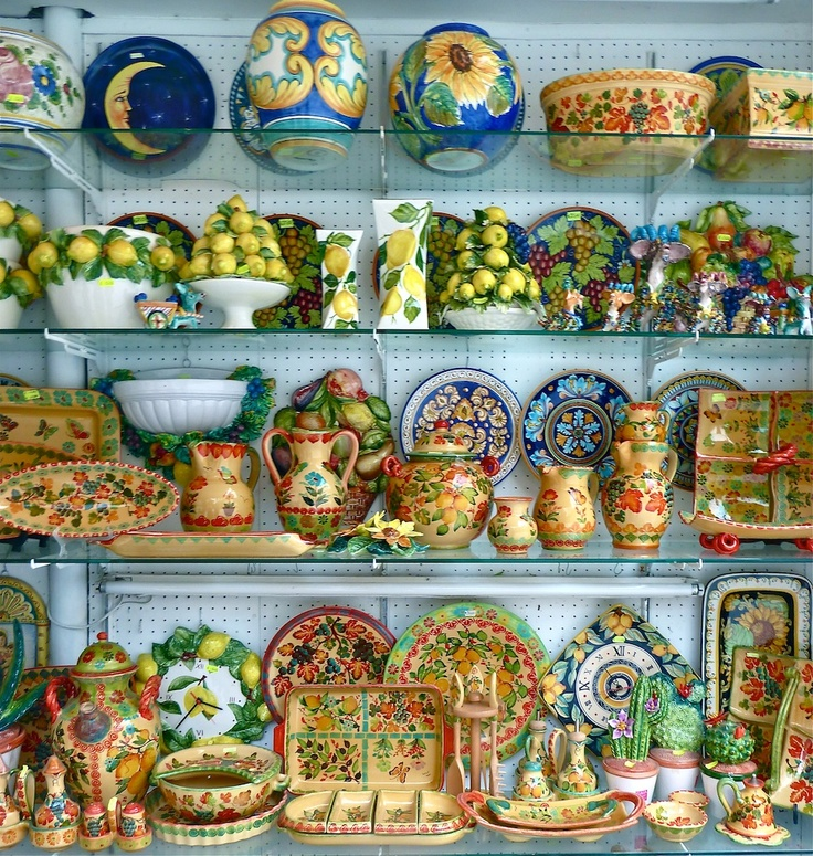 Local pottery in a shop near Pompeii, Italy