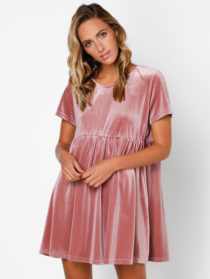 Short Sleeve Babydoll Dress in Pink - size 12