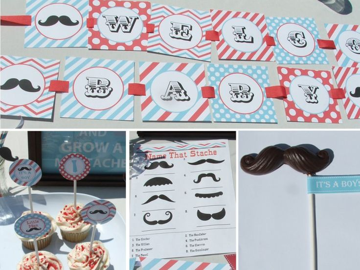 Mustache Baby Shower Decorations for boys Aqua by BusyChickadees