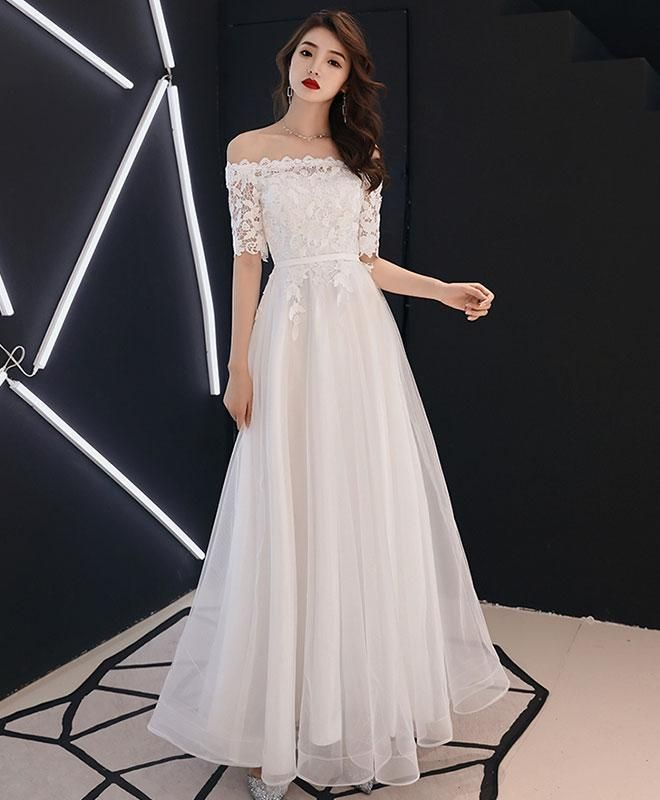 ca16e10cdb Elegant White Lace Tulle Long Prom Dress