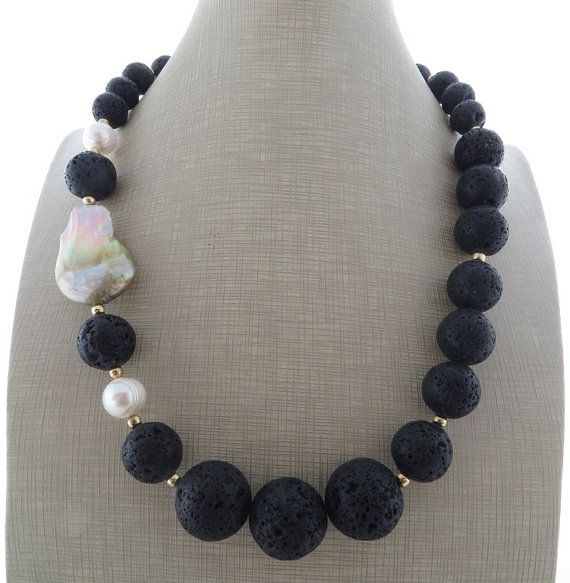 Black lava rock necklace beaded necklace gemstone by Sofiasbijoux