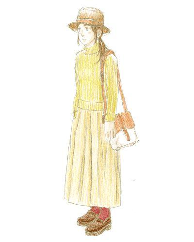 上質な素材のバッグにハイネックのニットとガウチョを合わせたトレンドスタイル。フェルトハットでフェミニンに。