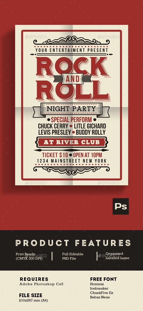 Vintage Rock and Roll Music Party Flyer Template PSD