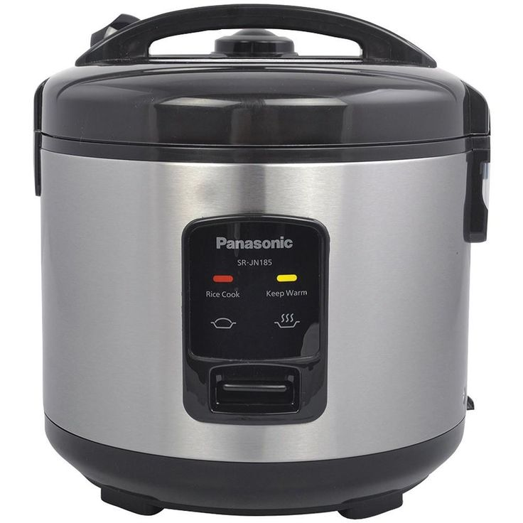PANASONIC SR-JN185 10-Cup Automatic Rice Cooker. Cooks up to 10 cups of rice;  Automatically cooks the rice & turns off when the rice is done;  Easy-to-use single-switch control;  Durable nonstick inner cooking pan;  Includes measuring cup, rice scoop & steamer basket;PANASONIC SR-JN185 10-Cup Automatic Rice CookerCondition : This item is brand new, unopened and sealed in its original factory box.