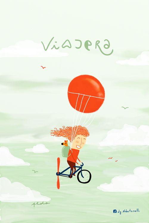 """""""Viajera"""" - por Aldo Tonelli #illustration Encuentra más inspiración para tus escapadas en www.escapadarural.com"""