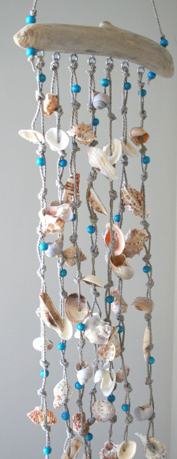 Sea shells windchime beach decor driftwood by SkyLineDesign777