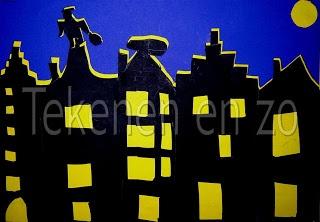 skyline met zwart tekenpapier en geel zijdepapier