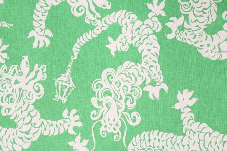 Lee Jofa Lily Pulitzer Tail Lights Printed Linen Drapery Fabric in Lifeguard Green $49.95 per yard