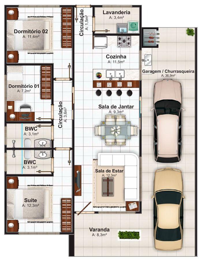 projetos-casas-térreas-3-quartos