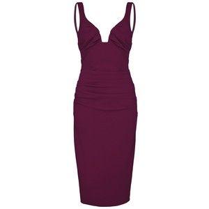 NICOLE MILLER Berry Low Neck Tuck Dress
