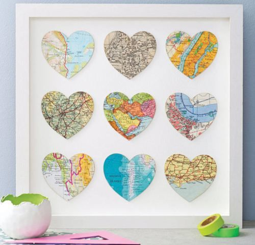 Love this idea!! A heart for where you were born or all the places you've lived or all the places you've been to....So Fun!!