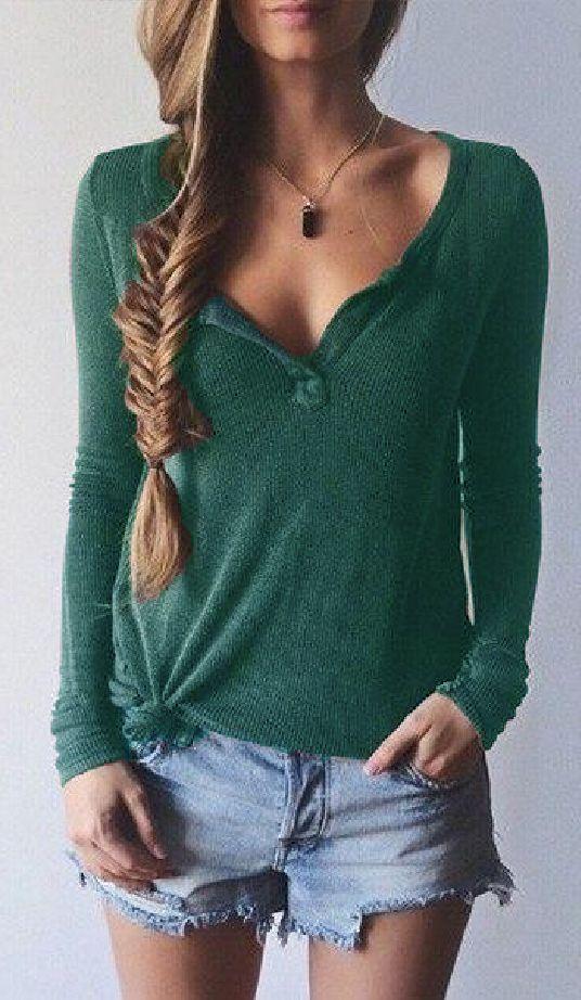 Green Ribbed Knit Long Sleeve T-shirt