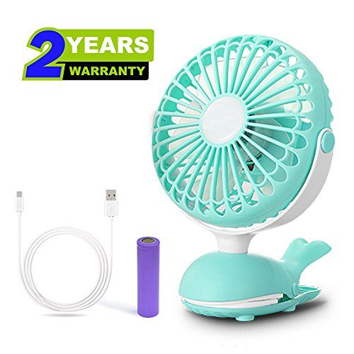 Clip Fan Battery Operated Portable Stroller Fans Cute Whale Design Rechargeable Usb Personal Silent Desk