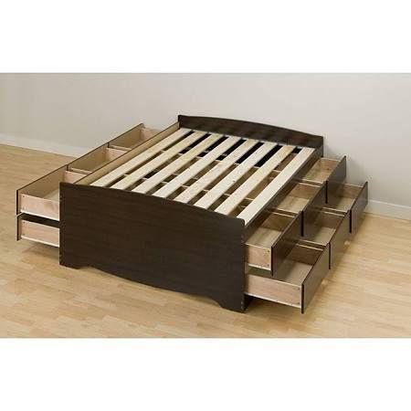 Espresso Tall Queen  Drawer Captain S Platform Storage Bed