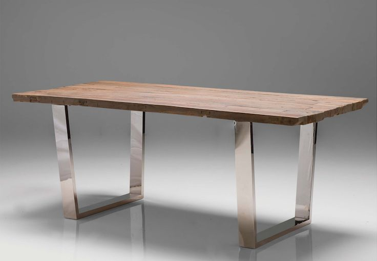 """79"""" Reclaimed Wood & Stainless Steel Modern Desk or Conference Table"""