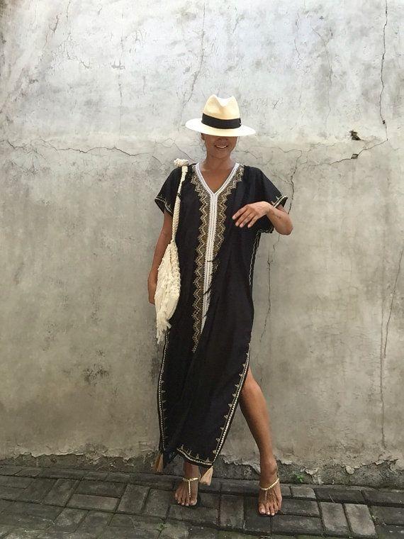 Caftan noir pompon long robe lété gypsy hippie Festival