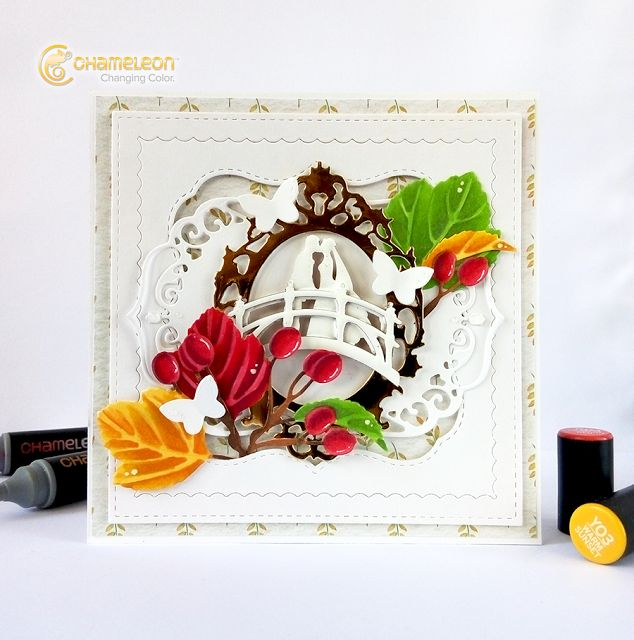wedding-card-autumn-wedding-chameleon-pens-Olesya-Kharkova