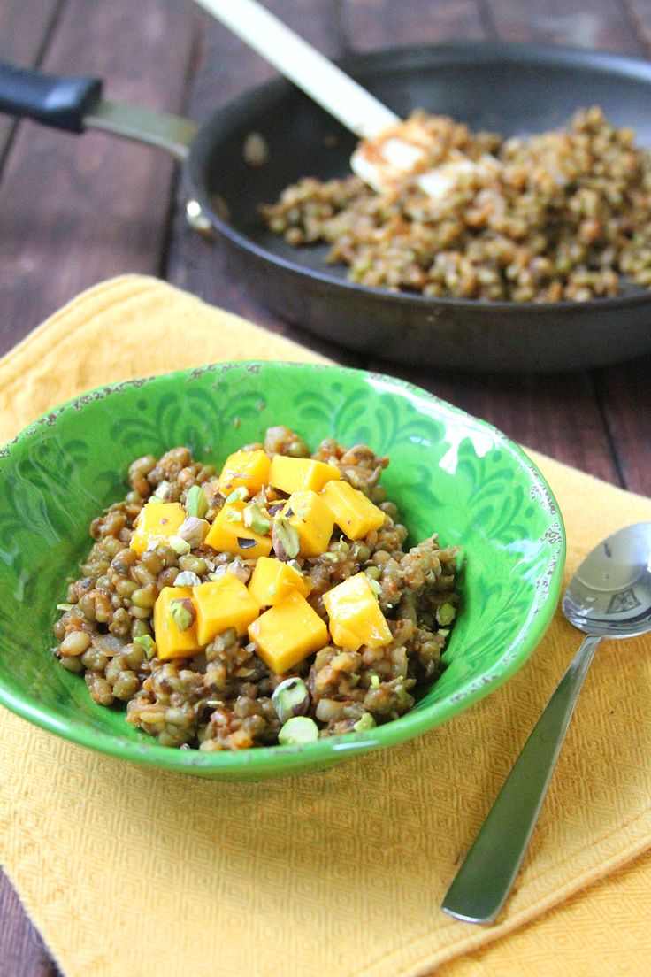 Skillet Style Mung Beans with Mango and Pistachios