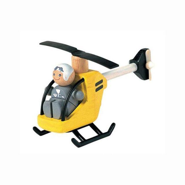 Drewniany helikopter z pilotem (3+) / Plan Toys blubalon.pl