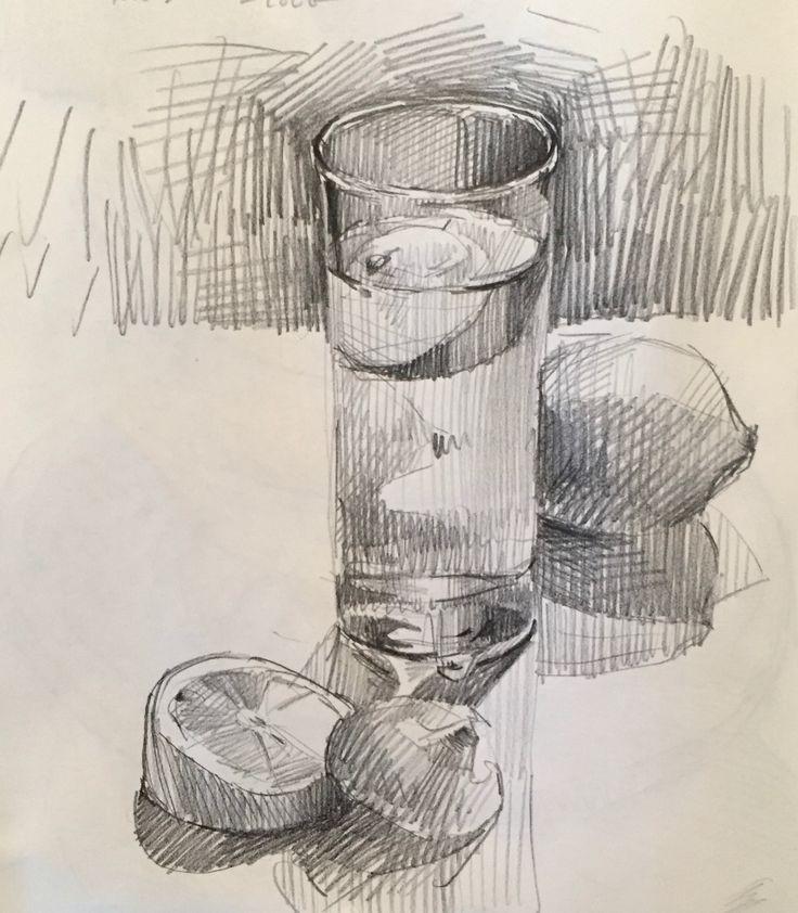 Lemon water. Daily sketch by Sarah Sedwick. 9.9.16.