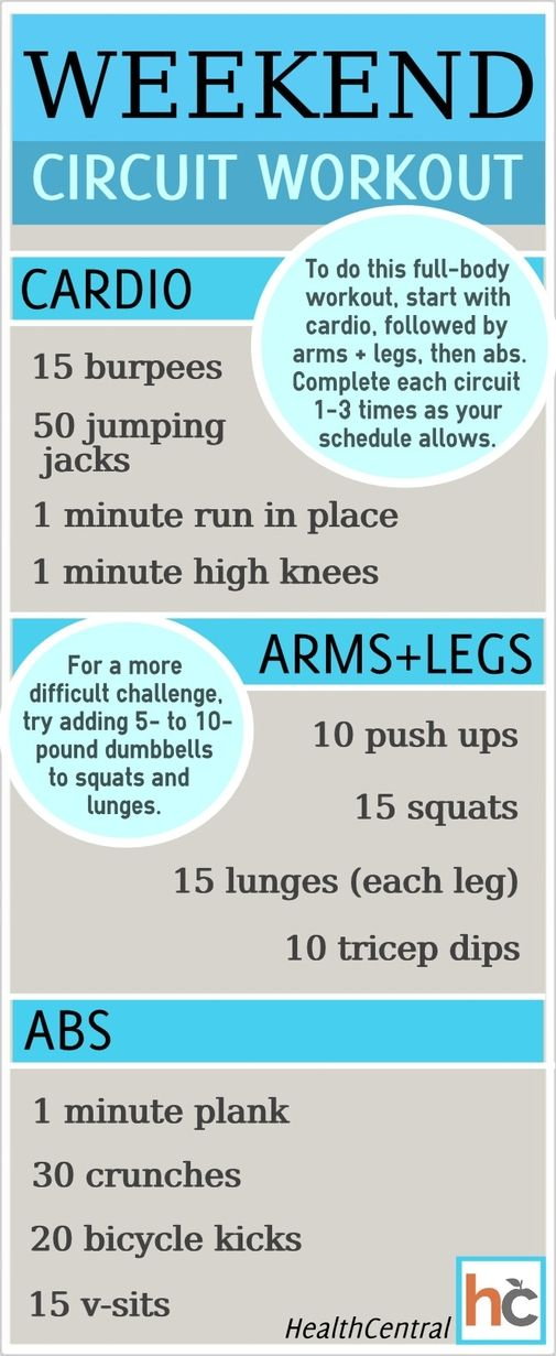 Pin to remember this for later! Get in shape, adjust the workout by your fitness level and busy schedule... this is a workout to try! Follow this weekend circuit workout that doesn't require any equipment. Read more about the workout and view the entire infographic here: http://www.healthcentral.com/diet-exercise/c/255251/167113/weekend-circuit/?ap=2012