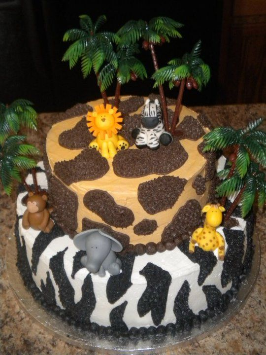 Jungle Theme Baby Shower Cakes | this was a welcome to the jungle themed baby shower cake each tier has ...