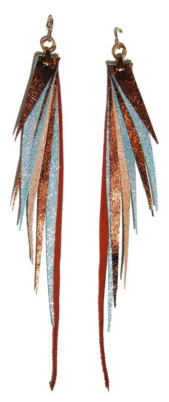 Leather feather look earrings