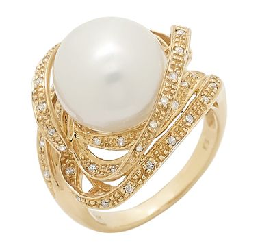 Pearl Luster 14K Yellow Gold 13-14mm Golden South Sea Pearl Ring