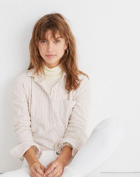 74a77c949c3 Flannel Classic Ex-Boyfriend Button-Back Shirt in Stripe in margo stripe  pearl ivory
