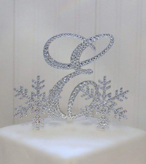 Snowflake Winter Wedding Cake Topper with 6 by InitialMoments, $87.00