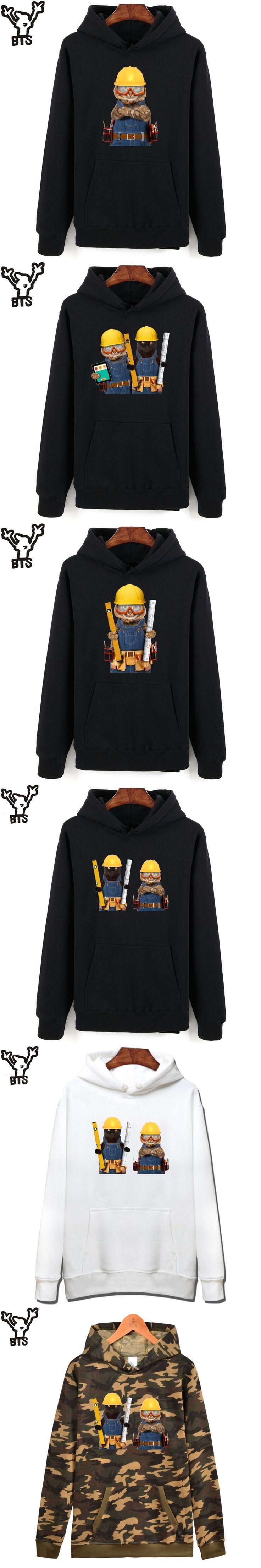 BTS Builder Cat Mens Hoodies And Sweatshirts Casual Engineer Cat Cartoon Capless Hoodies Men Fashion Funny Streetwear Clothes