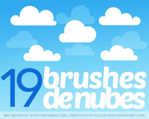 19 Brushes de Nubes para Photoshop Gratis http://regardis.com/19-brushes-de-nubes-para-photoshop/