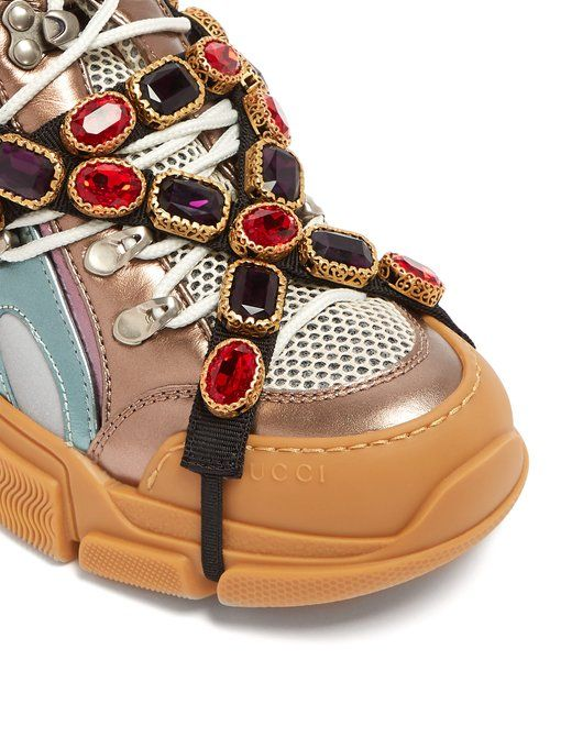 ac605c35a Gucci Flashtrek crystal-embellished low-top trainers | Shoes in 2019 ...