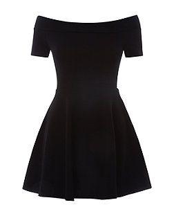 Teens Black Bardot Neck Skater Dress | New Look