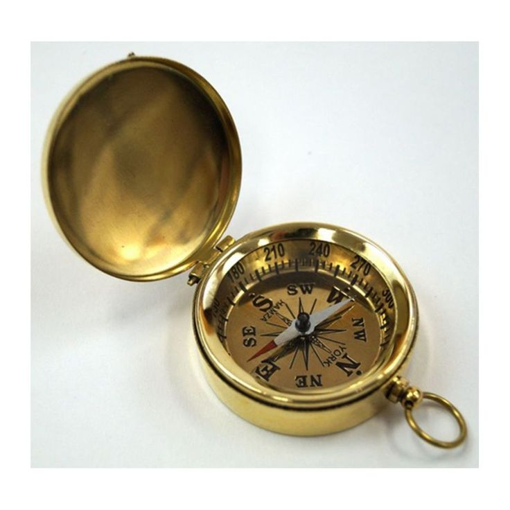 Goldtone Brass Pocket Compass With Lid (Brass Pocket Compass with Lid Golden Dial), Gold