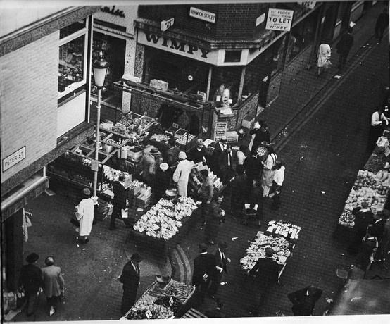 Berwick Street market in Soho. c.1965 Photograph by Jeffrey Bernard.