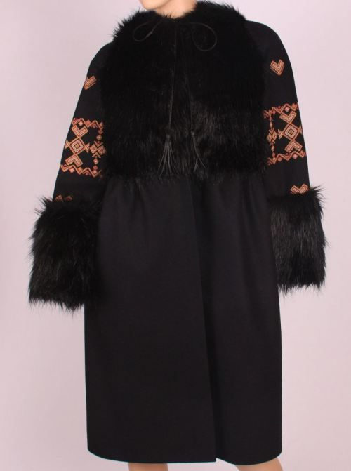 Black jacket with traditional patterns