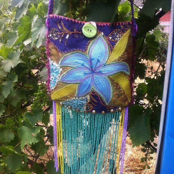 Tiger Lilly beaded fringe festival bag silk by HummingbirdIsland