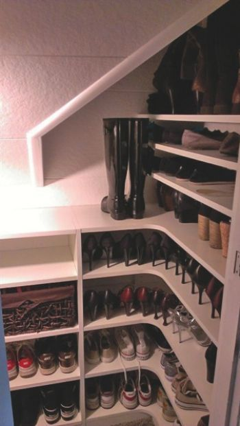 Need shelves like this in my closet under the stairs